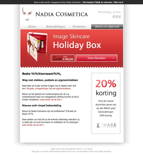 Nieuwsbrief ontwerp voor NadiaCosmetica te Rotterdam.